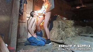 Farmer Stud Fucking Asian Twink's Face in hammer away Barn! - AsianTwinkVideo.Com