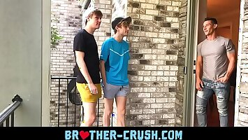 Hot brothers fuck their horny older neighbour in gay threesome