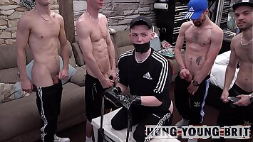 6x Quarantined Horned up n desperate to cum lads thing embrace 'resident cum dump' LIVE on Lockdown cam stance