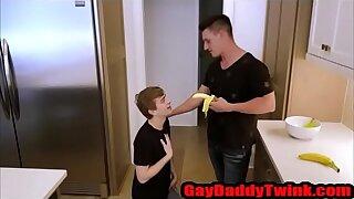 Banana Trick With Cur� and son - GayDaddyTwink.com